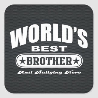 World Best Brother Anti Bullying Hero Square Stickers