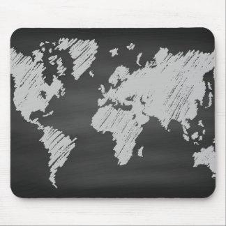 World Chalkboard Map Mouse Pad