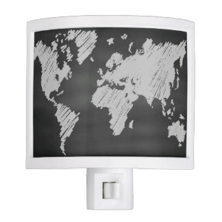 World Chalkboard Map Night Lights