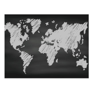 World Chalkboard Map Postcard