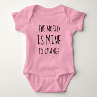 World Change Hero Empower Feminist Typography Baby Bodysuit