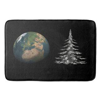 world christmas and fir tree bathroom mat