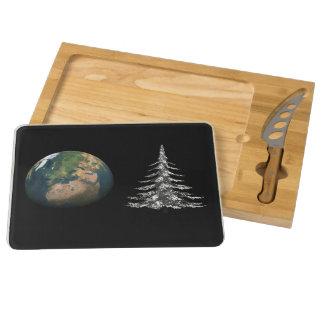world christmas and fir tree round cheeseboard
