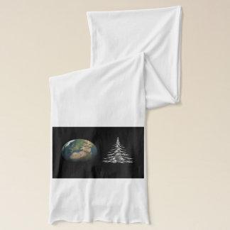 world christmas and fir tree scarf