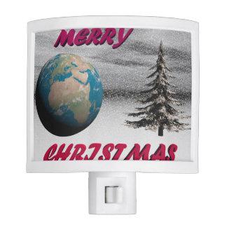 world christmas and snow night light