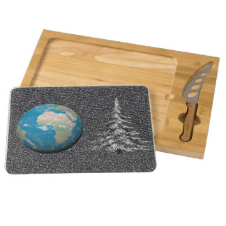 world christmas and snow round cheese board