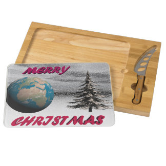 world christmas and snow round cheeseboard