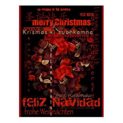 World Christmas Feliz Navidad Joyeux Noel Postcard