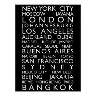 World Cities Bus Roll Poster