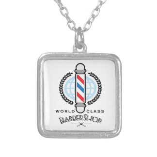 World Class Barber Shop Silver Plated Necklace