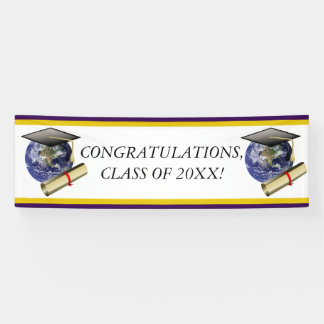 World Class Graduation - Cap and Golden Diploma Banner