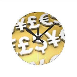 World Currencies Gold International Finance Wealth Round Clock