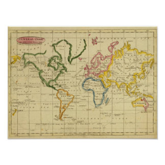 World engraved map poster