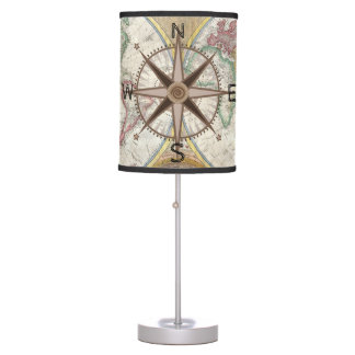 World Explorer Map Compass Hot Air Balloons Table Lamp