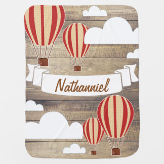 World Explorer Red Hot Air Balloons & Rustic Wood Baby Blanket