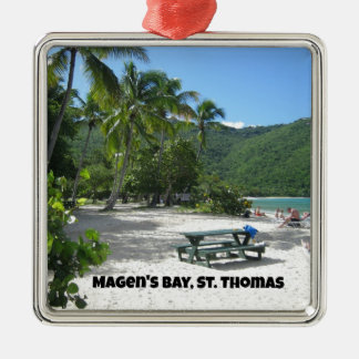 World famous Magen's Bay, St. Thomas Silver-Colored Square Ornament