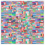 World Flag Collage Fabric