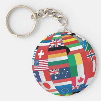 World Flags Basic Round Button Keychain