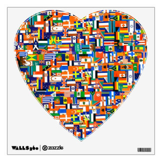 "World Flags"" Decoupage Heart Wall Sticker"