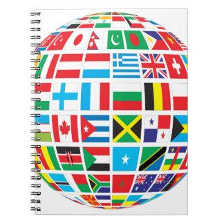 World Flags Globe Spiral Notebook