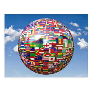 World Flags in a Globe Postcard