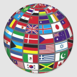 World Flags on Globe Sticker