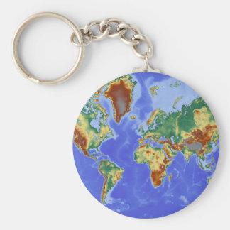 World Geographic International Map Basic Round Button Keychain