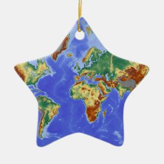 World Geographic International Map Ceramic Star Ornament