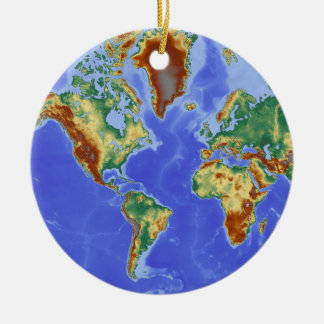 World Geographic International Map Round Ceramic Ornament