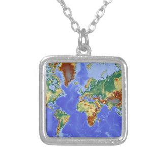 World Geographic International Map Silver Plated Necklace