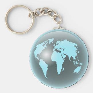 World Glass Globe Basic Round Button Keychain