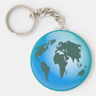 World Globe Basic Round Button Keychain