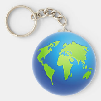 World Globe Basic Round Button Keychain