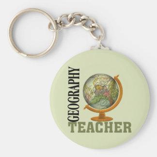 World Globe Geography Teacher Basic Round Button Keychain