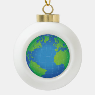 World Globe Map Ceramic Ball Christmas Ornament