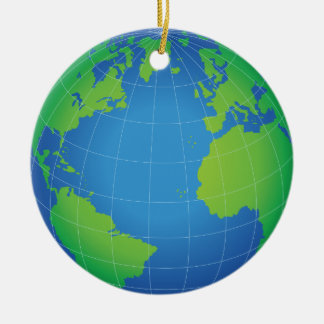 World Globe Map Ceramic Ornament