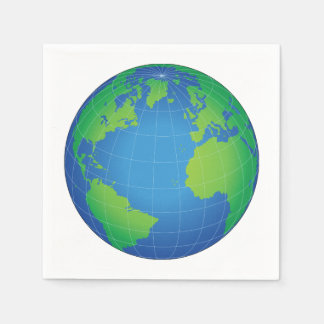 World Globe Map Paper Napkins