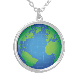 World Globe Map Silver Plated Necklace