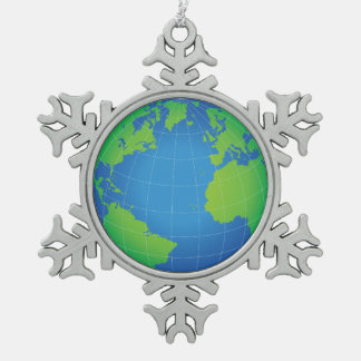 World Globe Map Snowflake Pewter Christmas Ornament