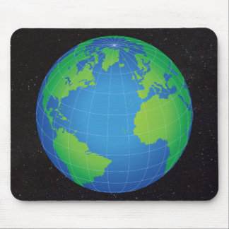World Globe Map Starry Sky Mouse Pad