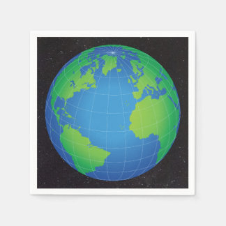 World Globe Map Starry Sky Napkin