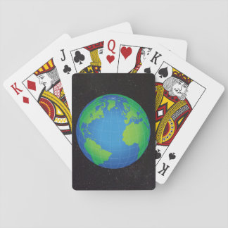 World Globe Map Starry Sky Playing Cards