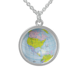 world globe sterling silver necklace