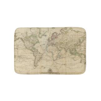 World Hand Colored map Bath Mat