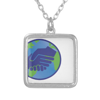 World Handshake Silver Plated Necklace