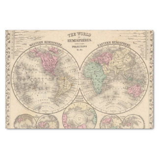 World hemispheres  Map by Mitchell Tissue Paper
