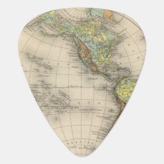 World hypsometric maps guitar pick