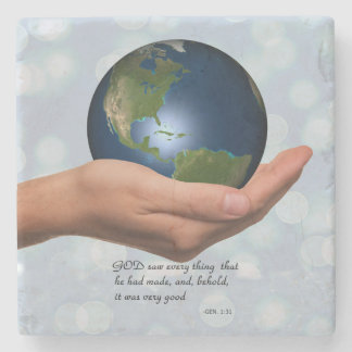 WORLD IN HIS HAND STONE COASTER