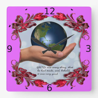 WORLD INHIS HAND SQUARE WALL CLOCK