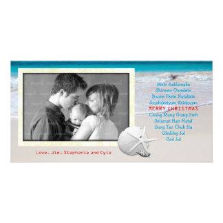 World Languages Merry Christmas Ocean Beach Card